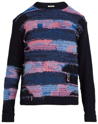 Acne Studios - Crewneck Cotton Blend Knit Sweater - Mens - Navy