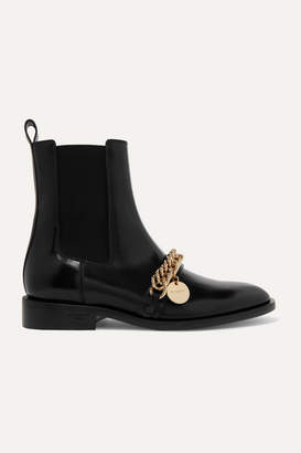 Givenchy Chain-embellished Glossed-leather Chelsea Boots - Black