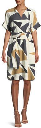 Lafayette 148 New York Jubilee Bold Triangles Knit Dress