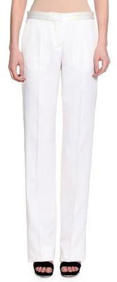 Alexander McQueen Flat-Front Straight-Leg Tuxedo Pants, Silk White $1,075 thestylecure.com