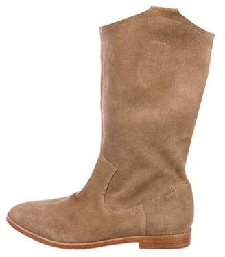 Joie Round-Toe Suede Mid-Calf Boots