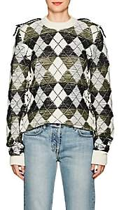 J.W.Anderson Women's Inside-Out Argyle Wool Sweater-Off White