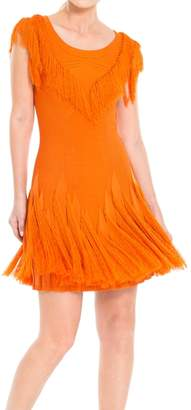 Max Studio Short Sleeved Fringed Sweater Dress