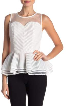 Gracia Stripe Mesh Peplum Top