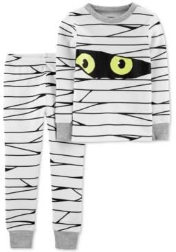 Carter's Toddler Boys 2-Pc. Cotton Glow-In-The-Dark Mummy Pajama Set