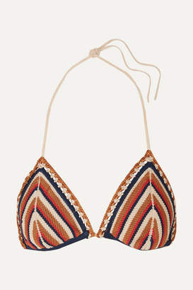 Solid & Striped Re/done The Billy Striped Crochet-knit Triangle Bikini Top - Brown