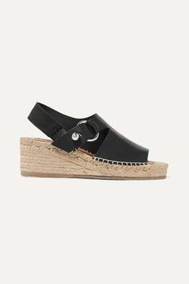 Rag & Bone Arc Leather Espadrille Wedge Sandals - Black