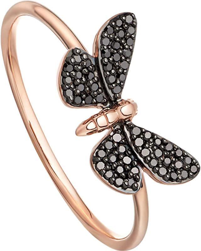Cinnabar Papillon 14ct rose-gold and black diamond ring