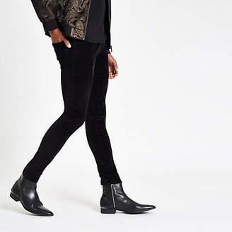 River Island Black Danny super skinny velvet pants