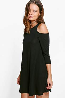 boohoo Cold Shoulder Knitted Swing Dress