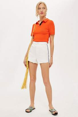 Topshop White Mom Shorts With Side Striped