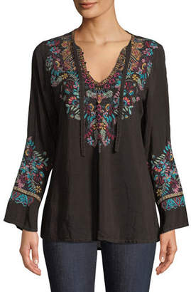 Johnny Was Sheesoh Georgette Blouse w/ Embroidery, Petite