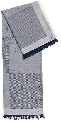 HUGO BOSS Cotton-blend logo scarf with herringbone structure