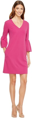 Donna Morgan - 3/4 Bell Sleeve Crepe Shift with V-Neck Women's Dress $118 thestylecure.com