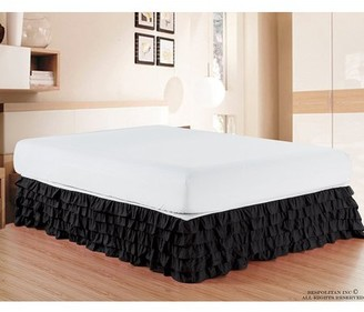 Elegant Comfort Luxurious Premium Quality 1500 Thread Count Wrinkle and Fade Resistant Egyptian Quality Microfiber Multi-Ruffle Bed Skirt - 15inch Drop, King, Black