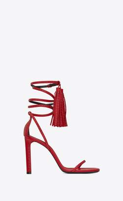Saint Laurent Kate Studded Sandal In Leather With Tassels