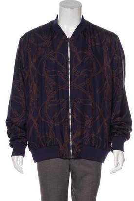 Gucci Horsebit Print Silk Bomber Jacket
