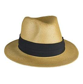 Morgan & Taylor Woven Paper Fedora With Pug Trim