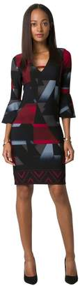 Le Château Women's Geo Print Bell Sleeve Tunic Dress,XS,Black/Red