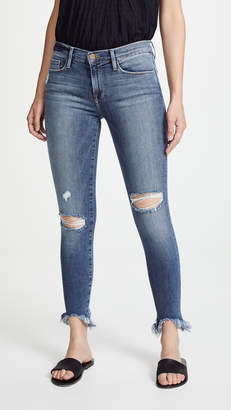 Frame Le Skinny De Jeanne Raw Edge Faded Jeans