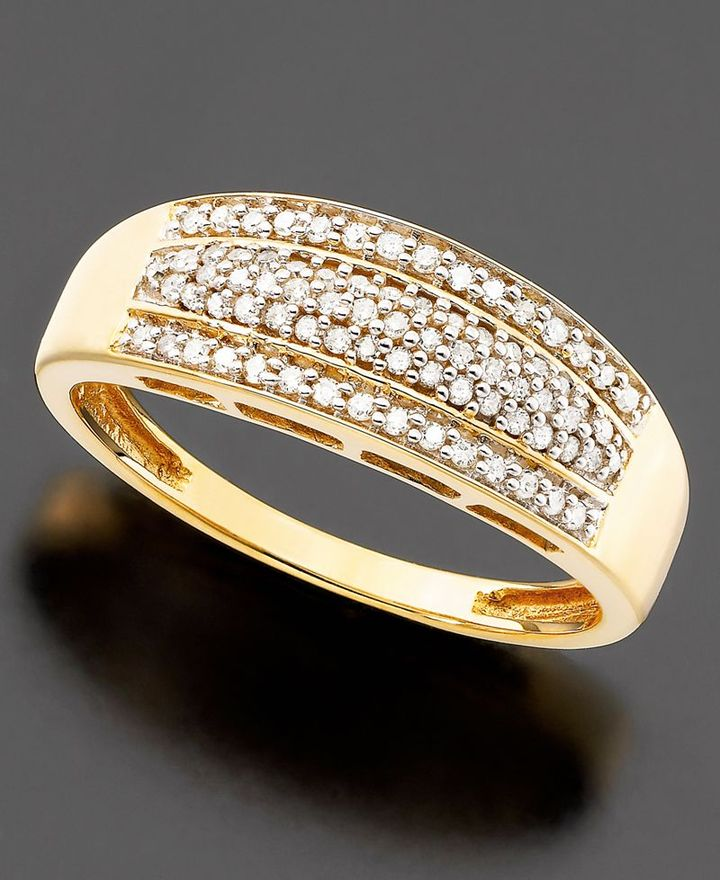14k Gold Diamond Three Row Pave Ring (1/4 ct. t.w.)