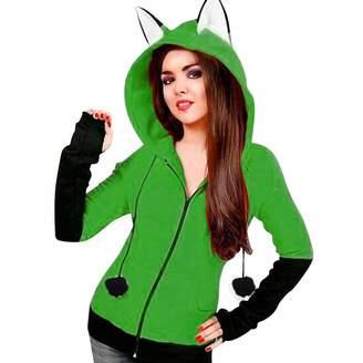 Pervobs Women Coat&Jacket Pervobs Clearance Sale! Women Autumn Fox Ears Hooded Sweatshirts Coat Long Sleeve Zipper Coat Hoodie Jacket Outwear (M, )