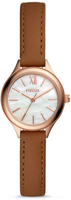 Fossil Suitor Mini Three-Hand Brown Leather Watch