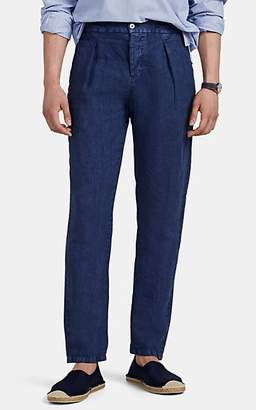 Marco Pescarolo Men's Washed Linen Pleated Drawstring Trousers - Navy