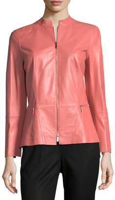 Lafayette 148 New York Janina Zip-Front Leather Jacket $599 thestylecure.com