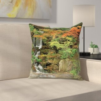East Urban Home Waterfall Nature Foggy Morning Square Pillow Cover East Urban Home