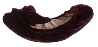 Miu Miu Velvet Round-Toe Flats