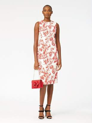 Oscar de la Renta Floral Toile Textured Cotton Pencil Dress