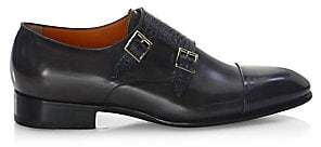 Santoni Men's Double Monk-Strap Leather Oxfords