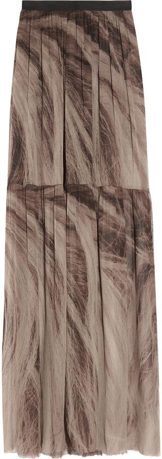 Raquel Allegra Hair-print silk-georgette maxi skirt