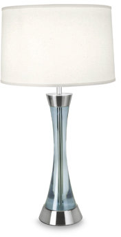 Sunderland Blue Table Lamp with White Fabric Shade
