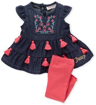 Juicy Couture Newborn Girls) Two-Piece Tassel Chambray Tunic & Leggings Set
