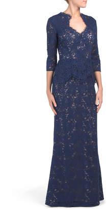 Peplum Long Evening Gown
