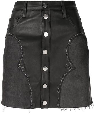 Amiri front button A-line skirt