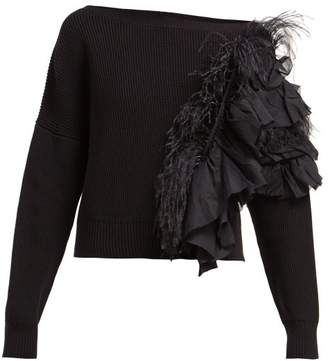 No.21 No. 21 - Feather And Ruffle Trimmed Sweater - Womens - Black