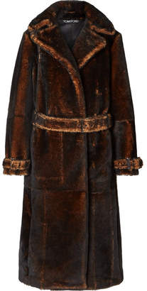 Tom Ford Oversized Shearling Coat - Brown