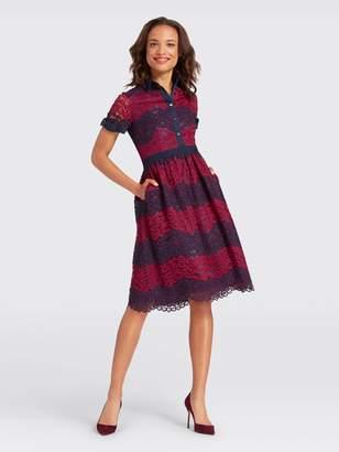 Draper James Collection Stripe Lace Shirtdress