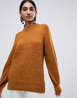 Warehouse premium wool blend sweater with blouson sleeves in ochre