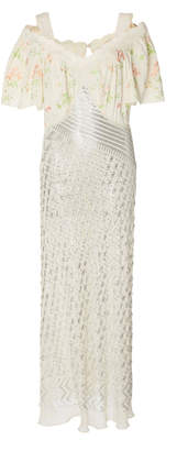 Paco Rabanne Embroidered Sequined Chiffon And Lace Maxi Dress