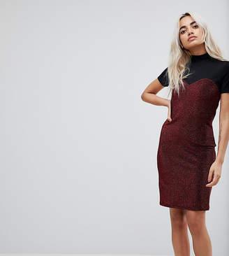 Noisy May Petite High Neck Mesh Top Glitter Bodycon Dress