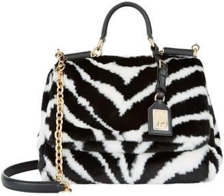 Dolce & Gabbana Medium Sicily Soft Zebra Print Bag