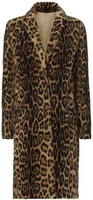 Yves Salomon Leopard Pattern Shearling Lamb Coat