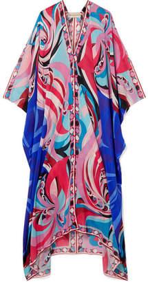 Emilio Pucci Parrots Printed Cotton And Silk-blend Voile Kaftan - Pink