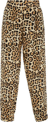 ATM Leopard-Print Silk-Charmeuse Track Pants