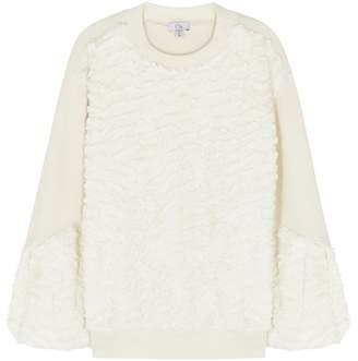 Clu Cream Faux Fur Jersey Sweatshirt