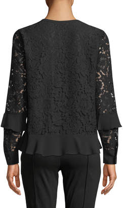 MICHAEL Michael Kors Lace-Up Tassel Long-Sleeve Lace Blouse